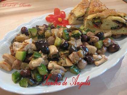 Bocconcini di pollo e salsiccia di tacchino con verdure