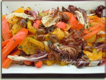 Peperoni in padella con radicchio