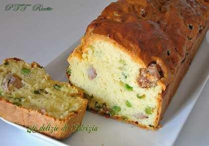 Plumcake con salsiccia e piselli
