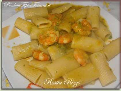 Rigatoni con zucchine e gamberetti