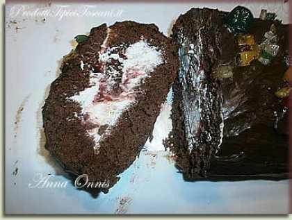 Rotolo al cioccolato, panna e fragole