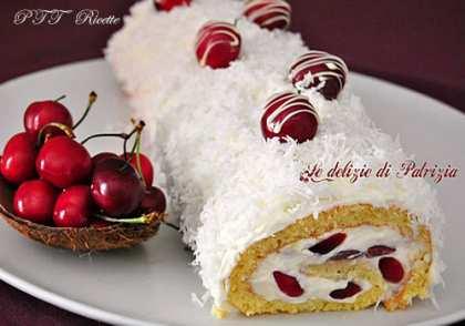 Rotolo con crema di cocco e ciliegie