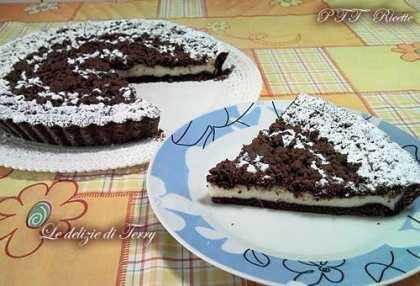 Sbriciolata di pasta frolla al cacao con crema pasticcera