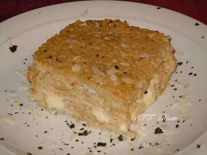 Sformato di orzo con gorgonzola, mozzarella e petto di pollo al forno