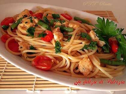 Spaghetti al pesce spada, pomodorini e fagiolini