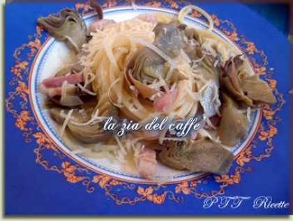 Spaghetti con carciofi e pancetta