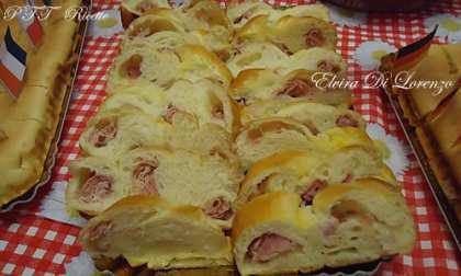 Trecce di pan brioche con prosciutto cotto e mozzarella