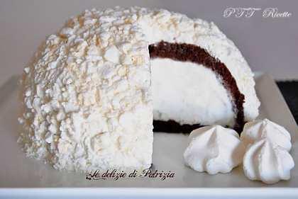 Zuccotto al cacao con gelato fior di latte e meringhe